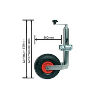 48mm Jockey Wheel with Clamp and Pneumatic Wheel No JW016