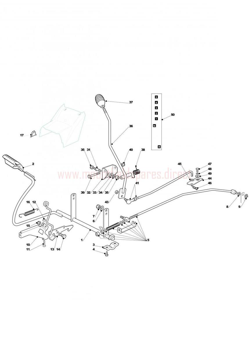 Brake And Gearbox Controls assembly | Mountfield T35M (20110218